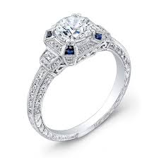 art deco style diamond u0026 blue sapphire engagement ring simones