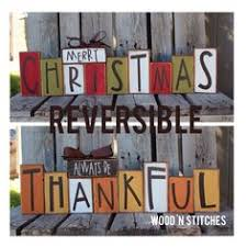reversible and thanksgiving wood blocks muted happy