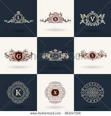 luxury logos monogram vintage royal flourishes elements