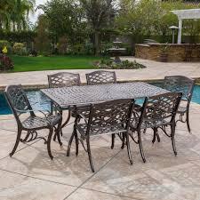 odena cast aluminum 7 piece outdoor dining set with rectangular