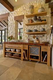 kitchen country kitchen with red wood island also stone