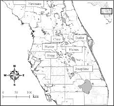 1 map of central florida showing the locations of the studied
