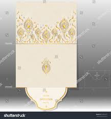 Marriage Invitation Card Templates Wedding Invitation Card Templates Gold Peacock Stock Vector
