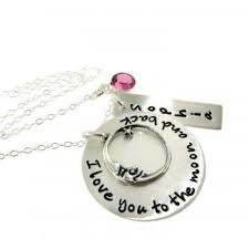 I Love You To The Moon And Back Personalized Necklace Personalized Hand Stamped Necklace Three Names And Birthstones