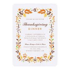 autumn foliage thanksgiving invitation card