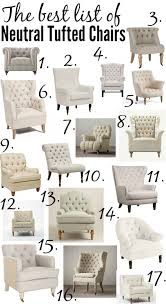 List Of Living Room Furniture The Ultimate List Of The Best Neutral Tufted Chairs From High To