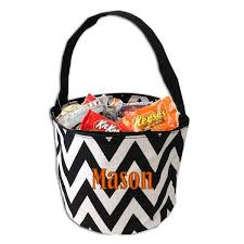personalized chevron black basket trick or treat