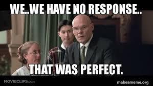 No Response Meme - we we have no response that was perfect make a meme