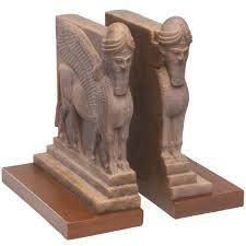 assyrian lamassu lion and bull palace guard bookends mesopotamian