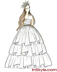 drawn gown ruffle pencil and in color drawn gown ruffle