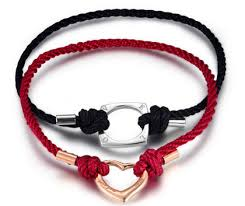 for couples his and hers engraved heart square cotton rope bracelet set