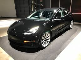 2017 black tesla model 3 premium long range battery electric car