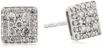 amazon com 10k white gold square diamond stud earrings with side