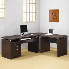 furniture l dark brown wood computer desk with shelves and