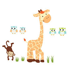 use giraffe wall decals for decor kids rooms giant giraffe with monkey wall decals