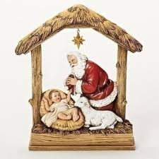 santa and baby jesus picture 8 5 kneeling santa with baby jesus in stable religious christmas