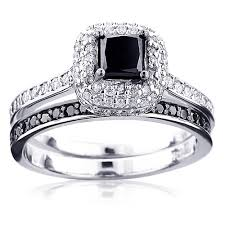 black engagement ring set black wedding ring set wedding corners
