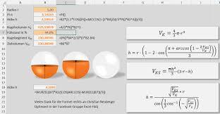 kugeloberfl che berechnen excel volumen kugeln und kugelsegmenten at excel andreas