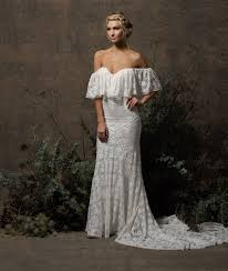 bohemian wedding dress lizzy shoulder lace wedding dress dreamers and