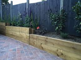Garden Retaining Wall Blocks by Finished Retaining Sleeper Wall Steps Block Paving Driveway And