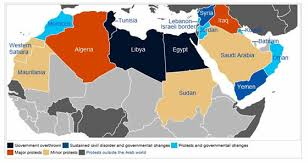middle east map changes arab rebellions spread across africa and the middle
