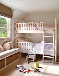 Pink And Gray Girls Room With White Lacquered Bunk Beds Dressed - Girls room with bunk beds