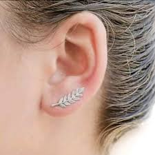 climber earrings 60 jewelry dainty silver leaf ear climber earrings from all