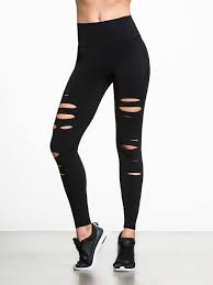 Plus Size Ripped Leggings High Waist Ripped Warrior Leggings In Black