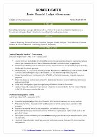 financial analyst resume junior financial analyst resume sles qwikresume