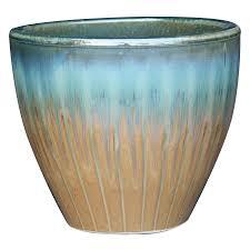shop garden treasures 9 in x 9 8 in tan blue ceramic planter at