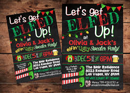 let u0027s get elfed up ugly sweater invitation ugly