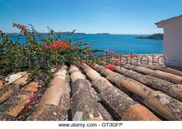 Mediterranean Style Terracotta Roof Tiles Pattern In The Village