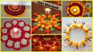 latest new unique flower decoration rangoli and light decoration