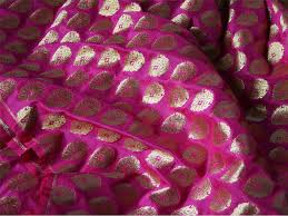 Beautiful Purple Motifs Silk Brocade Fabric Remnant In Dark Pink And Gold Gold