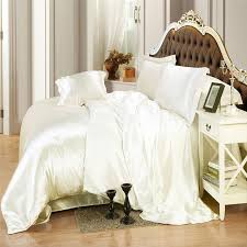 Silk Duvet Cover Queen Ivory Color Silk Bedding Sets Twin Full Queen King Size Soft