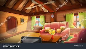 inside tree house warm cabin video stock illustration 553452328