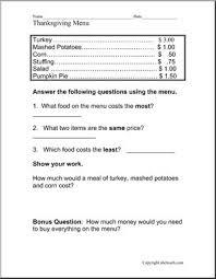 worksheet thanksgiving restaurant menu elementary abcteach