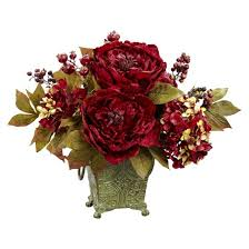 artificial flower arrangements nearly peony hydrangea silk flower arrangement target