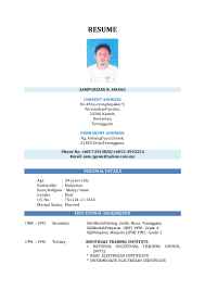 contoh resume offshore resume for your job application