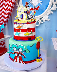 dr seuss birthday cake cat in the hat cake from a dr seuss birthday party on kara s