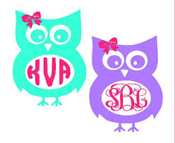 bow monogram owl with bow monogram decal clip library