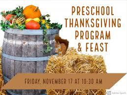 preschool thanksgiving program and feast bethany school