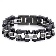 mens stainless steel chain bracelet images Trustylan 16mm wide black stainless steel biker motorcycle chain jpg