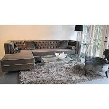 Grey Velvet Sofas Custom Furniture Tobias Grey Velvet Tufted Sofa