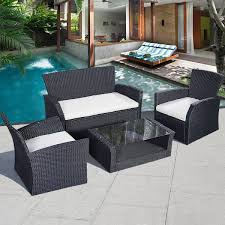 Gray Wicker Patio Furniture - 4 pcs wicker rattan cushioned seat patio set outdoor furniture