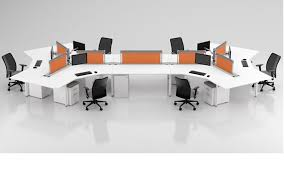 Office Workstation Desk 6 Person Office Workstation Desk 120 Degree Cubicle Joyce Contract