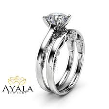 bridal sets rings 1 carat moissanite bridal set 14k white gold engagement rings