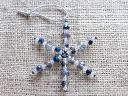 blue clear beaded snowflake ornament small dragonrat