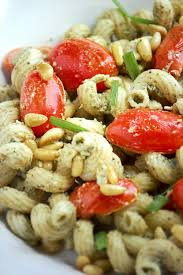 pesto and goat cheese pasta salad with roasted tomatoes