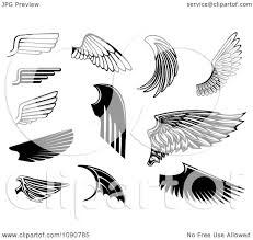 clipart black and white wing designs 2 royalty free vector